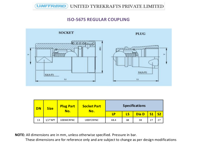 Untread ISO-5675 Regular Coupling Agricultural Couplings