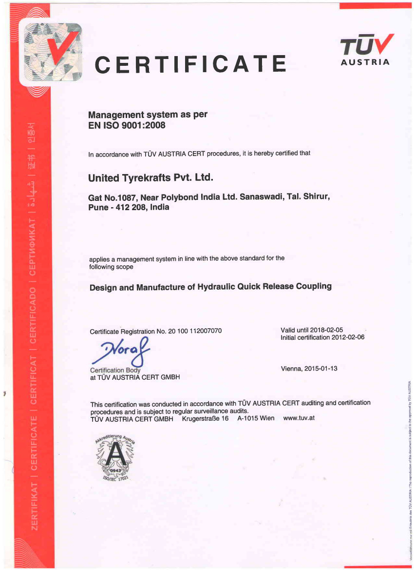 ISO Certification for Design and Manufacture of Hydraulic Quick Release Couplings