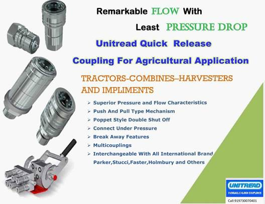 Unitread Quick Release Couplings for Agricultural Tractors, Combines, Harvesters, Implements Applications